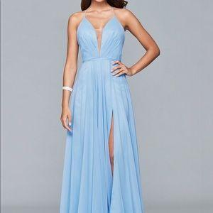 Faviana Blue Chiffon Gown with Slit